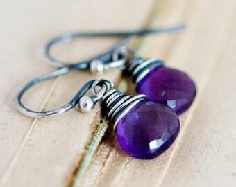 Drop Earrings, Amethyst Earrings, Amethyst Jewelry, February Birthstone, Dangle Earrings, Wire Wrapped, Sterling Silver, Purple, PoleStar