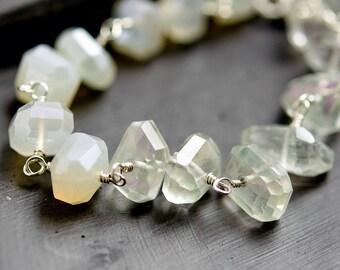 Sea Salt Gemstone Bracelet, Quartz Wire Wrapped Bracelet, Chalcedony, Sterling Silver