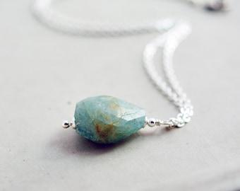 Aquamarine Necklace, Aquamarine Jewelry, Crystal Jewelry, Sterling Silver, March Birthstone, Light Blue
