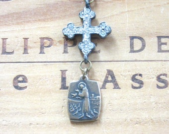 Saint Francis Vintage Replica Religious Medal Necklace with Rhinestone Cross