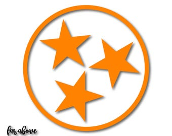 Tristar State of Tennessee TN Tri-Star SVG, EPS, dxf, png, jpg digital cut files for Silhouette Cricut Rocky Top