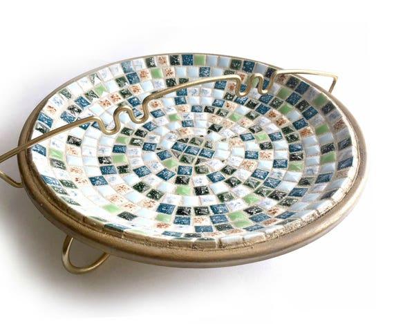 Mid Century Mosaic Ashtray, Vintage Mosaic Ashtray, Two Piece Mosaic Ashtray, Gold Green Blue Mosaic Ashtray, Gold Metal and Mosaic Ashtray