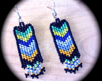 Chevron Native American Style Handwoven Long Dangle Seed Bead Earrings Fashion Earrings native bohemian ethnic southwestern barbswish