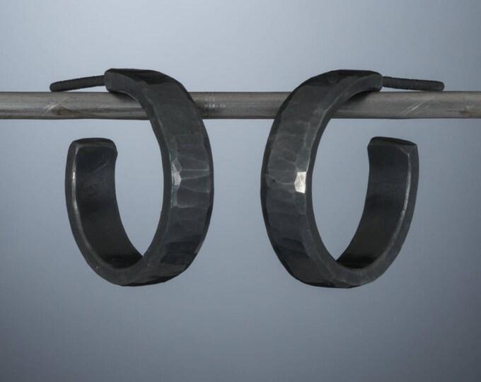 Sterling silver hoop earrings, 18 x 4mm