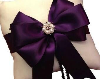 On Sale 20% Off Plum Ring Bearer Pillow - Ring Pillow - Ivory Ring Pillow Wedding - Plum Wedding - Ringbearer Pillow - Bridal Pillow  - 30 C
