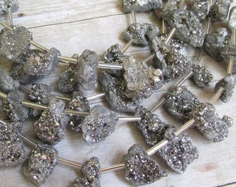 SALE Out Of TOWN Mystic Silver Geode Druzy Briolette Beads, Titanium Nugget Gemstone Beads