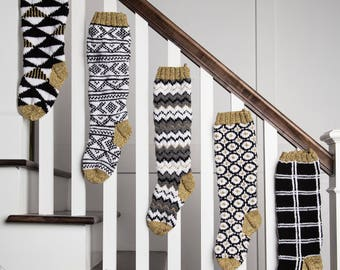 Christmas Stocking, Christmas Stocking Patterns, Christmas Stocking Design, Christmas Knitting, Black and white stocking, Norwegian