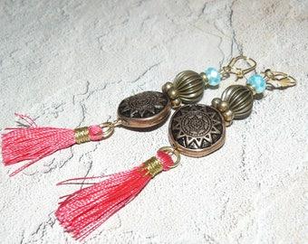 Long Tassel Earrings, Coral Tassel Earrings, Handmade Jewelry, Unique Handmade, Summer Jewelry, Unique Earrings, One of a Kind, Ready Wear