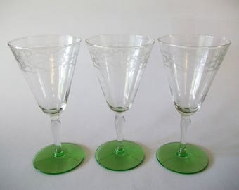 Wine Water Glasses, Needle Etched Stemware, Green Footed Goblets, Set of 3, 1930s-1940s