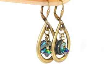 Paua Shell, Swarovski Crystals & Golden Brass Handmade Earrings - New Zealand Abalone Shell