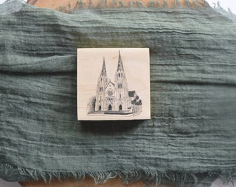 The Savannah Cathedral Pen and Ink Drawing Fine Art Print on 3x3 Wood Panel