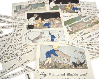 ephemera pack childrens book illustrations vintage 1930s 1920s graphics typography paper lot . school dog cat . collage supply . altered art