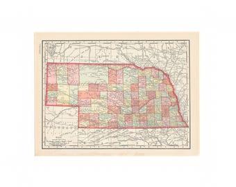 Vintage Nebraska Map Etsy - Nebraska on us map