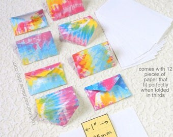 Miniature Envelopes and Stationery, set of 8, rainbow colors, for Fairies, Tooth Fairies and Elves