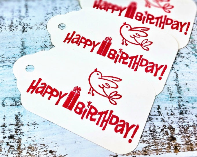 Happy Birthday Birdie Gift Tags