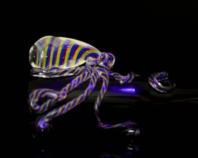 Octopus Chillum / Hand Pipe / Pyrex Pipe / High Quality / Black Light Glass / Glow Glass / Black & 3-Color UV Swirl / Ready to Ship #537