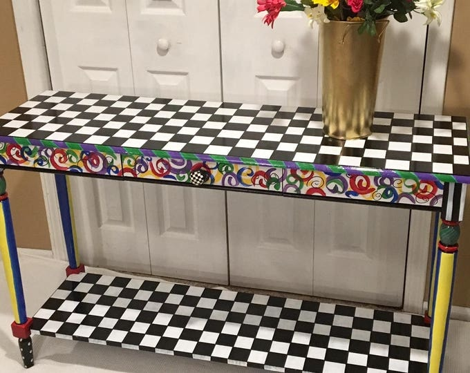 Whimsical Painted Table, Whimsical Painted Furniture, Hand Painted Furniture, Painted Table, Painted Console Table