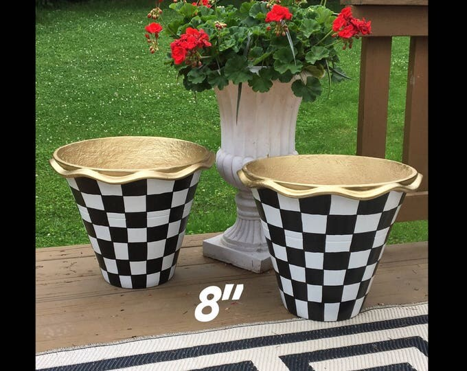 "Whimsical Painted Planters pots //8"" Terra Cotta pots //scalloped edge planters"