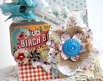 cottage chic card-large fabric bloom-happy birthday greeting