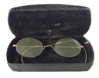 Antique / Vintage Gold Wire Rim Glasses with Black Case