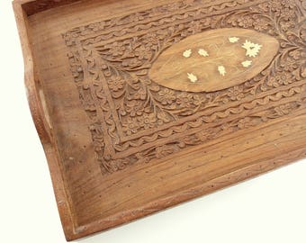 Carved Wood Tray, Hand Carved in India for Archana, Vintage Wooden Serving Tray
