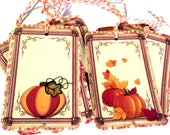 8 Gift Tags, Pumpkin Tags, Fall Party Favor Tags, Orange Brown Merchandise Tags, Hang Tags, Handmade, Takuniquedesigns