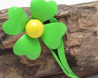 Large Green Flower Brooch Mid Century Jewelry P8057