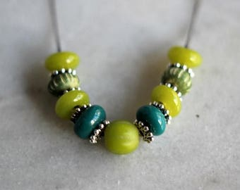 50%OFF Chartreuse Green Beaded Necklace, Teal Blue, Silver, Gunmetal Silver, Olive Green, Lime Green