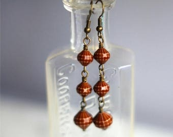 50%OFF Retro Red Brown Earrings, Faceted Lucite Dangles, Vintage Beads, Earthy Brown, Clay Brown, Neutral, Under 10, Stocking Stuffer, Gift