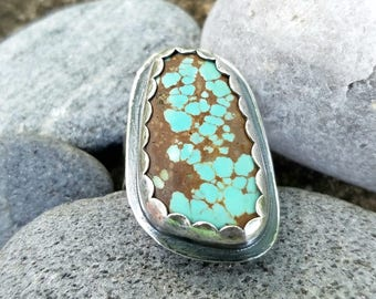 Turquoise Ring, Hammered, Sterling Silver,  Rustic, Unisex, Oxidized Silver,