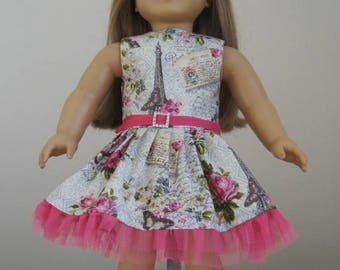 One Day Sale 20% Off Made to Fit American Girl Dolls, April in Paris Dress, Fits American Girl Doll