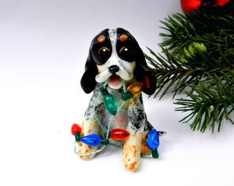 BlueTick Coonhound Christmas Ornament Figurine Lights Porcelain