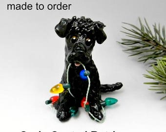 Curly Coated Retriever Made to Order Christmas Ornament Figurine in Porcelain