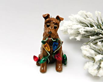 Irish Terrier Christmas Ornament Figurine Lights OOAK Porcelain
