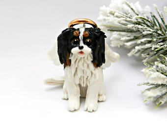 Cavalier King Charles Spaniel TriColor Angel Christmas Ornament Figurine Porcelain