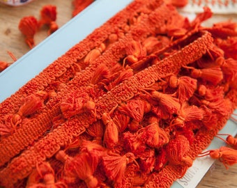 Elegant Orange - 3 yards Vintage Tassels Fringe 70s 80s New Old Stock