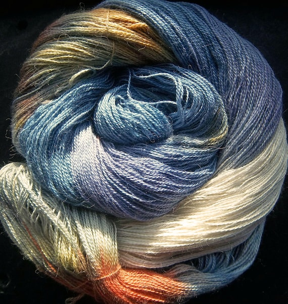 Baby Alpaca 30% Mulberry Silk Laceweight 2ply Yarn Elvincraft Hand Dyed Moonlight Mysteries