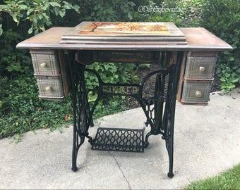 Vintage Sewing Machine Table Desk   Vintage Singer Sewing Machine   Vintage  Vanity Table   Rustic