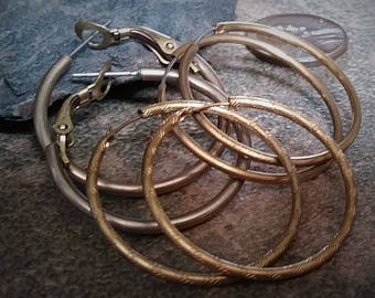 3Pr 1960 Vintage Brass Hoop Earrings Ear Wires 1 1/4 Inch 25 + mm Pierced Bare Raw Bronze Tan Gold Tone Patina Add Beads Charms Drops OOAK25
