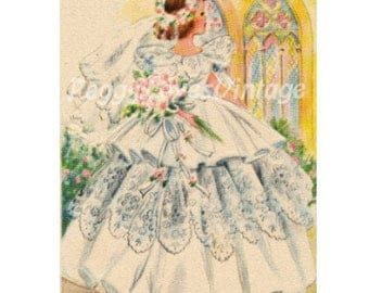 Wedding 1 a Beautiful Bride a Digital Image from Vintage Greeting Cards - Instant Download