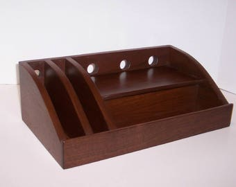 Walnut Charging Station / Docking Station with slots for iPad, Kindle, Nook, iPhone, cell phone Handcrafted  with attached power strip