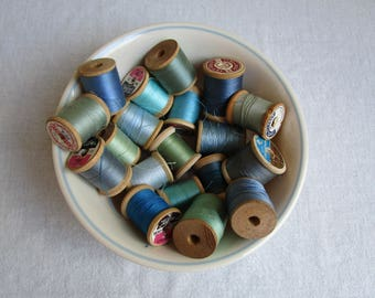 Vintage lot of  wooden thread spools with hue of blue and green, thread spoods, Coats, Clarks, Star, cotton thread spools