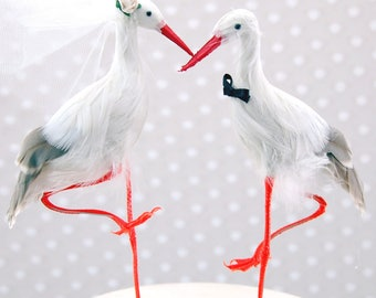 Customized Blue Heron Wedding Cake Topper: Bride & Groom Love Bird Cake Topper  - Stork / Heron / Egret