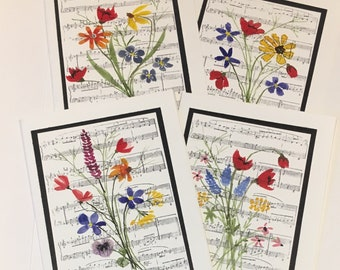 4 Wildflower Notecards/Musical Backgrounds/Watercolors/