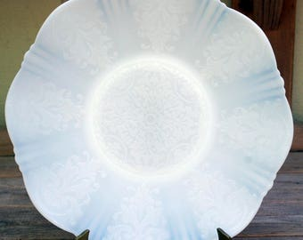 MacBeth Evans American Sweetheart Monax White Large Depression Glass Platter