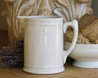 Perfectly Farmhouse Old Aged White Ironstone Pitcher