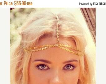 SUMMER SALE CHAIN Headpiece- boho chic head chain headdress chain headpiece. double chain