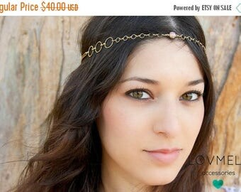SUMMER SALE Vintage opal glass chain headpiece / head chain crown headband