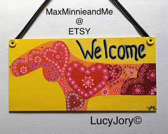Dachshund Welcome Door sign/ Door Hanger/ Welcome decoration / Welcome Plaque / Colorful dog Sign