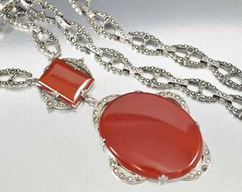 Art Deco Marcasite Carnelian Necklace | Vintage Sterling Silver Marcasite Necklace | Antique Necklace | Chalcedony Necklace | Fine Jewelry